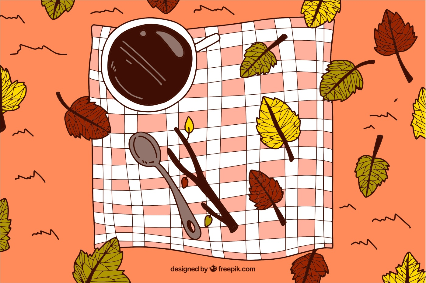 Picnic Blanket with Leaves