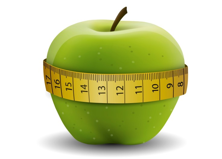 Green Apple With a Yellow Tape Measure Around it